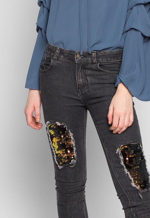 Bittersweet Sequin Insert Skinny Jeans in Black alternate img #6