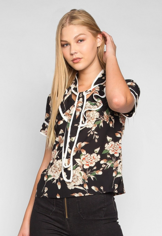 All I Need Floral Tie Neck Blouse alternate img #1