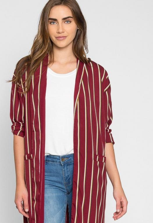 Rumors Longline Stripe Kimono in Wine alternate img #5