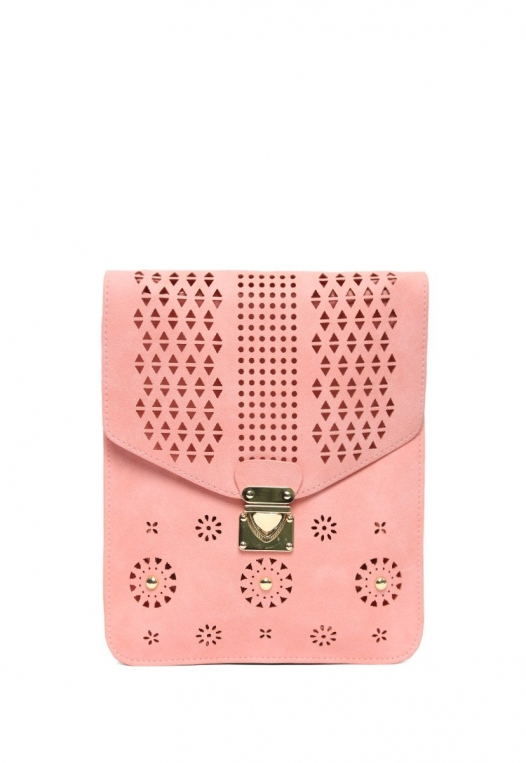 Perforated Nubuck Crossbody Bag in Pink alternate img #1