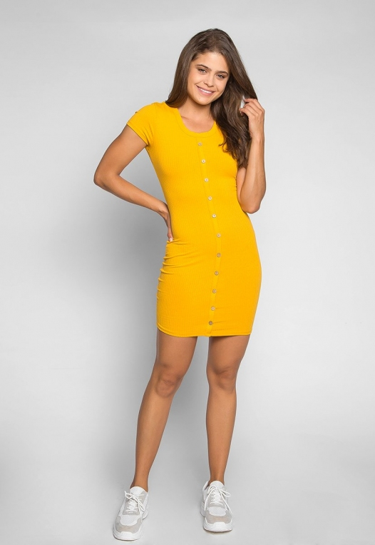 Play Hard Buttoned Fitted Dress in Mustard alternate img #4