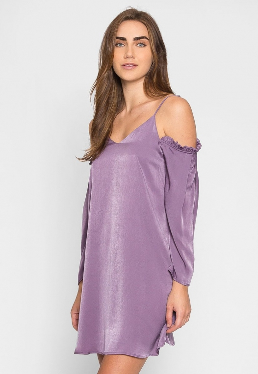 Aroma Cold Shoulder Satin Dress alternate img #1