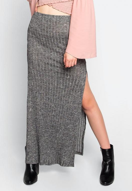 Hit The Ground Heathered Knit Maxi Skirt alternate img #1