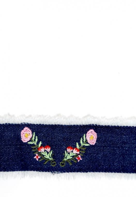 Embroidered Fray Denim Choker Set alternate img #2