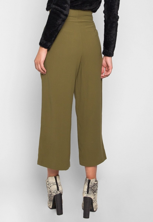 Barcelona Crop Wide Leg Belted Pants in Olive Green alternate img #2