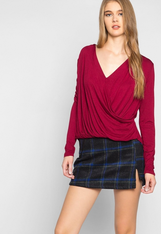 Make Me Feel Wrapped Knit Top in Burgundy alternate img #5