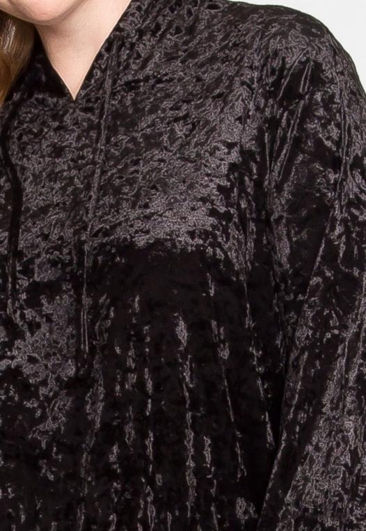 Plus Size Unpredictable Crop Hoodie in Black alternate img #6