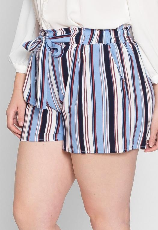 Plus Size Venice Beach Stripe Shorts in Light Blue alternate img #4