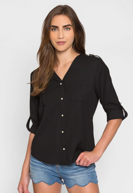 Ocean Waves Pearl Button Up Shirt in Black alternate img #1