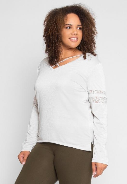Plus Size University Raglan Sleeve Top in Ivory alternate img #3