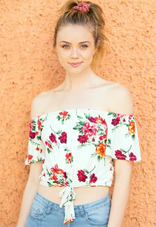 Moira Floral Off Shoulder Knit Top alternate img #1