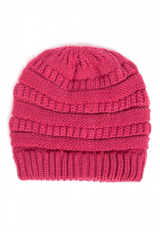 Sarah Knit Beanie in Fuchsia alternate img #1