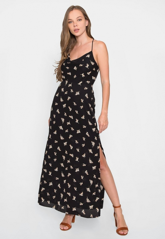 Madison Cowl Neck Floral Maxi Dress alternate img #4