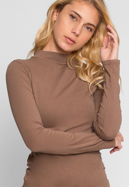 Sue Mock Neck Long Sleeve Top in Mocha alternate img #1