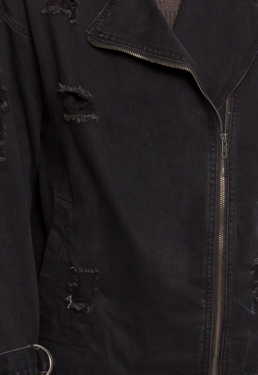 Black Distressed Denim Jacket alternate img #7