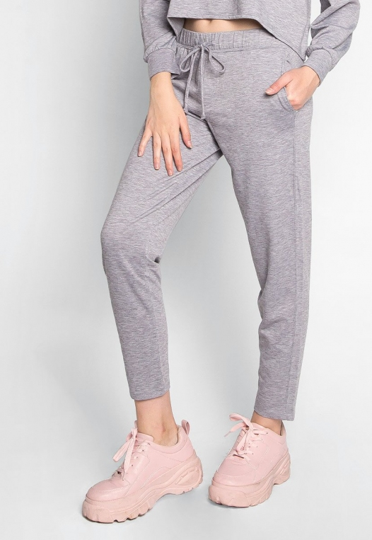 Meet Me There Heathered Joggers in Gray alternate img #1