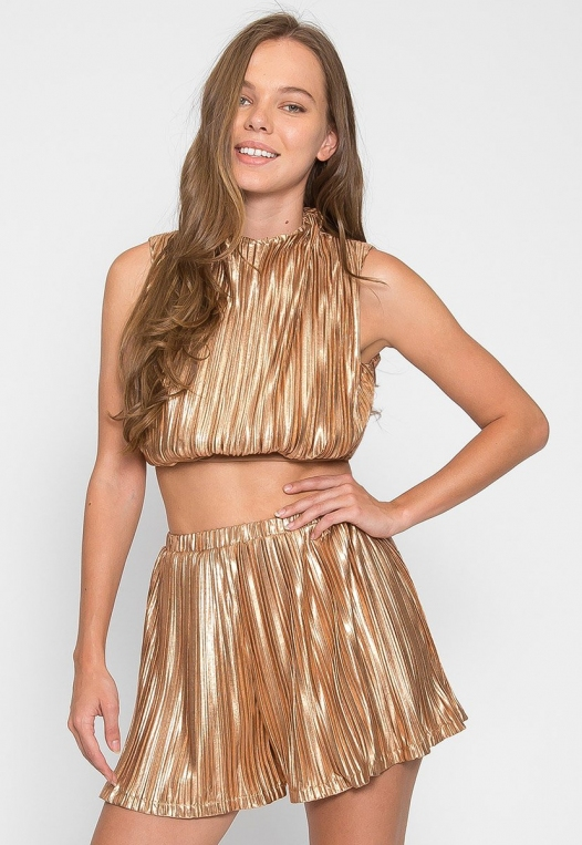 Gold Touch Crop Top Skirt Set alternate img #1