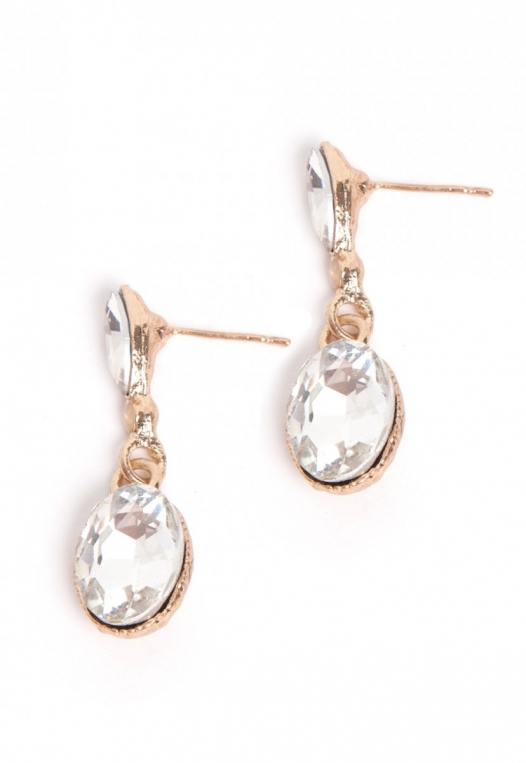 Drop Rhinestone Earrings in Gold alternate img #2