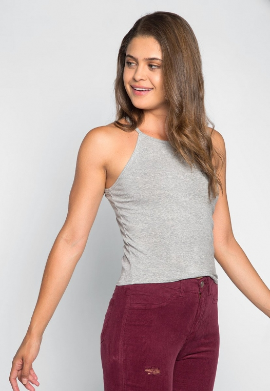 Lina Basic Tank Top in Heather Gray alternate img #1