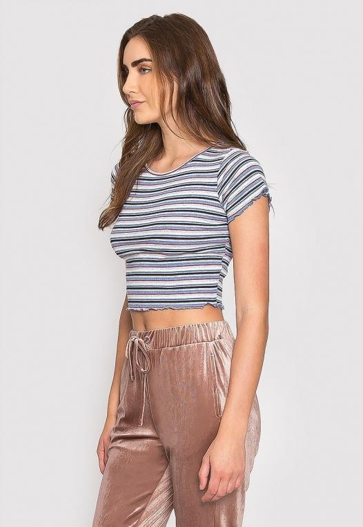 Baby Girl Stripe Crop Top in Blue alternate img #3