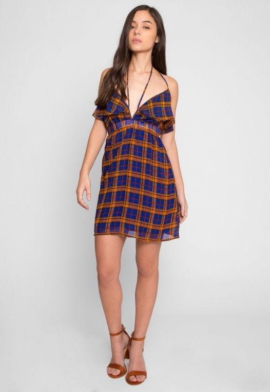 Pine Lane Plaid Fit and Flare Dress in Blue alternate img #5