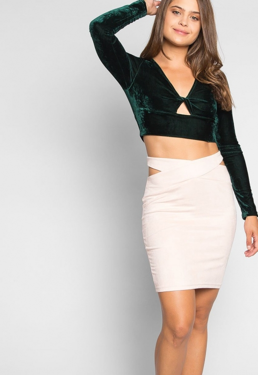 Skyline Crop Velvet Top in Green alternate img #5