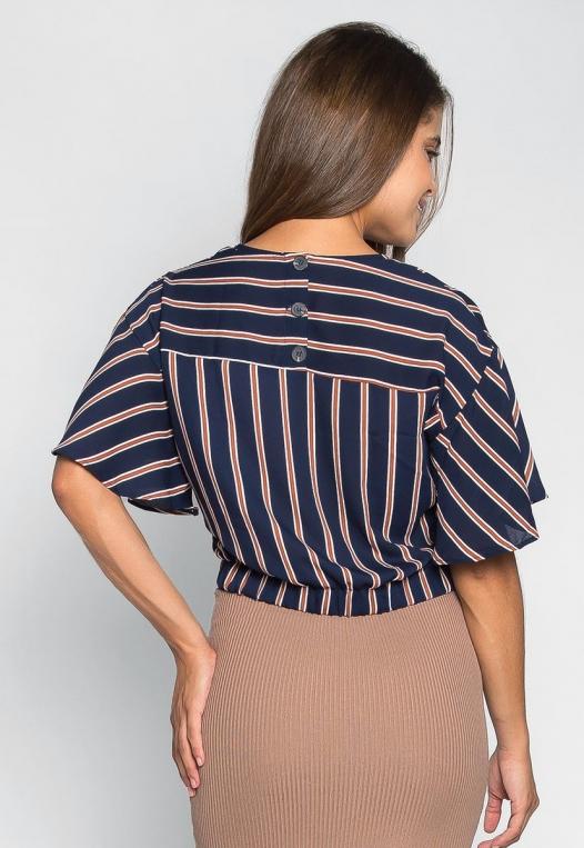 Teach Me Twisted Stripe Blouse in Navy alternate img #2