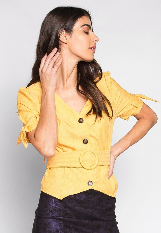 Forever Me Button Up Belted Blouse in Yellow alternate img #1