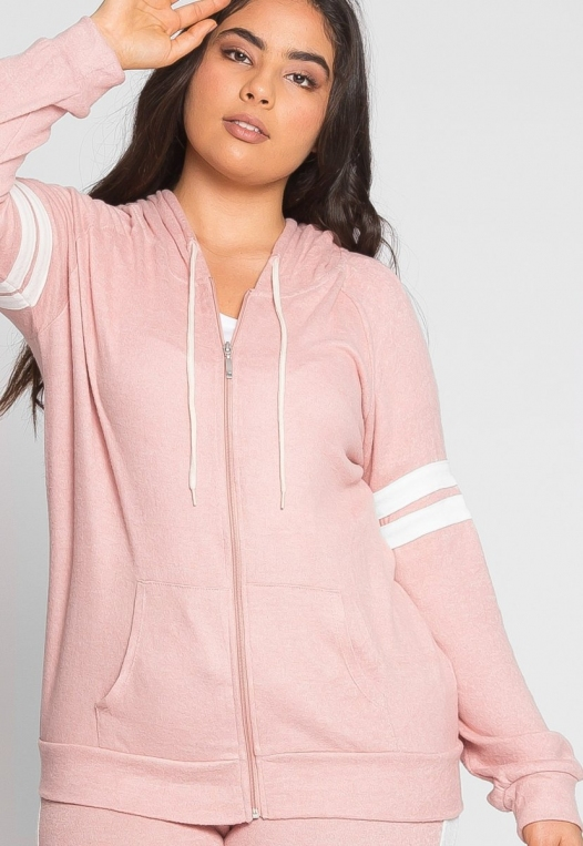 Plus Size Touchdown Zip Up Hoodie in Pink alternate img #5