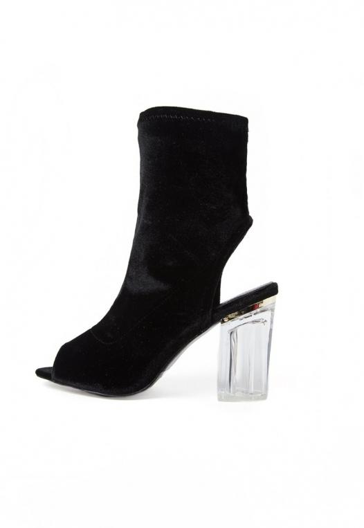 Leandra Velvet Cut Out Sock Heels in Black alternate img #2