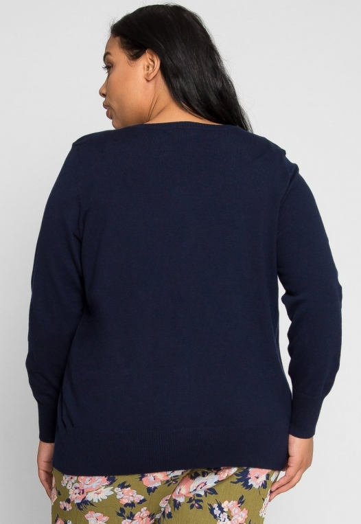 Plus Size Bookworm Cardigan in Navy alternate img #4