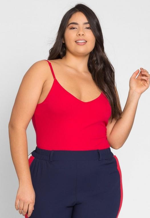 Plus Size Essentials Bodysuit in Red alternate img #1