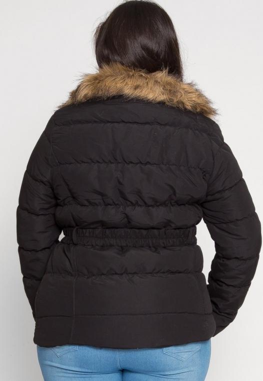Plus Size Luxurious Faux Fur Trim Jacket in Black alternate img #3