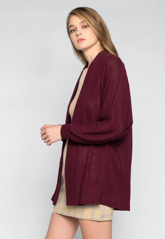 Keep Me Warm Textured Cardigan in Burgundy alternate img #1