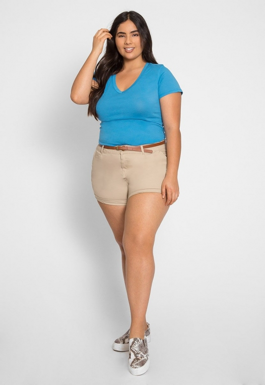 Plus Size Ivy V-Neck Tee in Blue alternate img #4