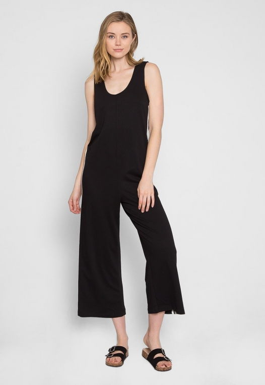 Sporty Side Stripe Jumpsuit in Black alternate img #4