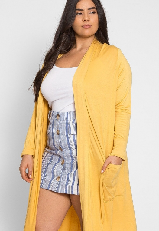 Plus Size Catalena Longline Cardigan in Yellow alternate img #1