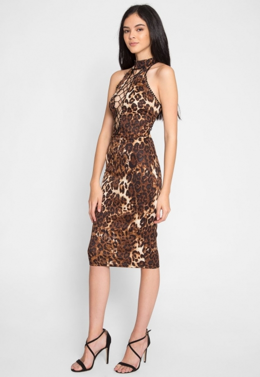 Belhurst Leopard Midi Dress alternate img #2