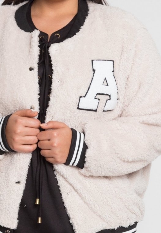 Plus Size Letterman Teddy Varsity Jacket in Beige alternate img #6