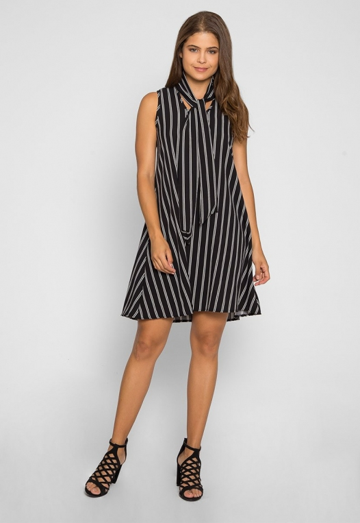 Flirty Girl Tie Neck Dress in Black alternate img #4