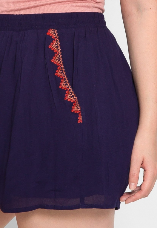 Plus Size Tribal Trim High Waist Shorts alternate img #6