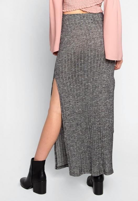 Hit The Ground Heathered Knit Maxi Skirt alternate img #2