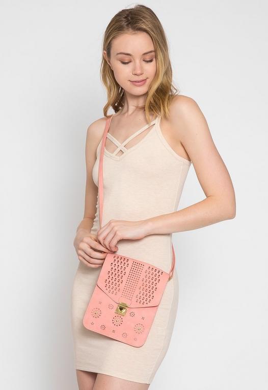 Perforated Nubuck Crossbody Bag in Pink alternate img #2