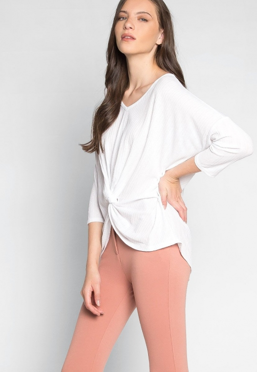 Always Fun Knot Front Blouse in White alternate img #5