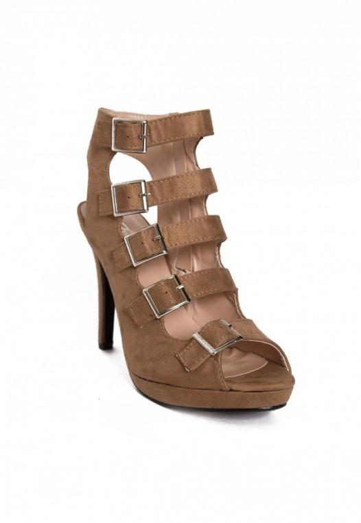 Ultra Side Buckle Peep Toe Heels in Beige alternate img #4