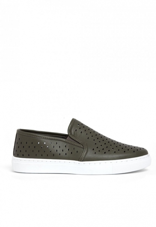 Ace Laser Cut Sneakers in Olive alternate img #1