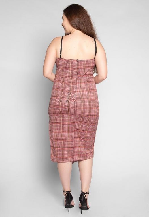 Plus Size Secrets Plaid Slit Dress in Red alternate img #2