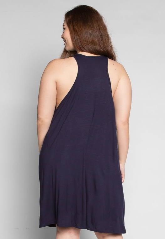 Plus Size Love Stories Tank Dress in Navy alternate img #2
