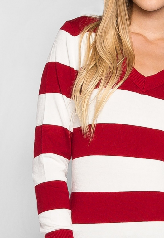 Be My Soulmate V-Neck Stripe Fitted Cardigan in Red alternate img #6