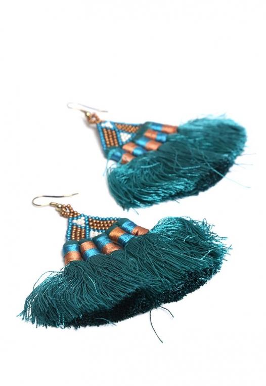 Santa Fe Fringe Fan Earrings alternate img #2